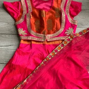 Pink and Orange Anarkali Indian Outfit, Raw Silk
